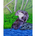 Otter; oil on canvas; 51x41cm..