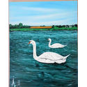 Estuary Swans.16×20 inches;oil on canvas.for sale.